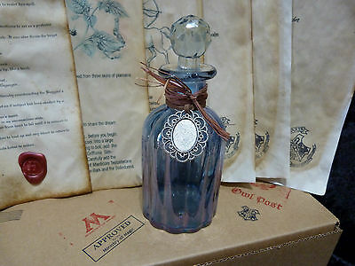 Potion Bottle with glass stopper. Moste Potente recipes. Harry Potter Spells