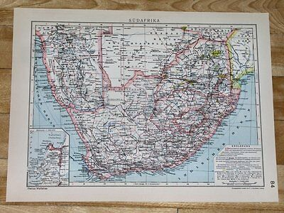 1929 Original Vintage Map Of South Africa Transvaal Namibia