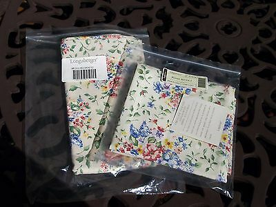 Longaberger 2-Pack Fabric Napkins~New~Spring Floral Fabric~Made In The Usa