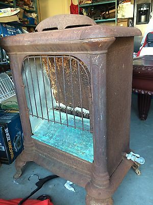 """Antique Early 1900's Cast Iron """"Snow"""" Gas Fireplace/Heater"""
