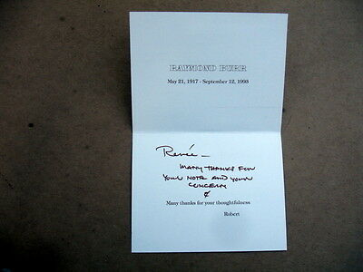 1993 Response Card Sent After Actor Raymond Burr Death~From Partner~4 Condolence