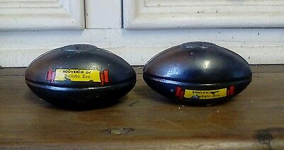 Vintage salt and pepper shakers. Footballs.