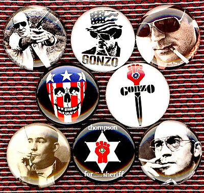Hunter S Thompson set of 8 pins buttons badges fear and loathing