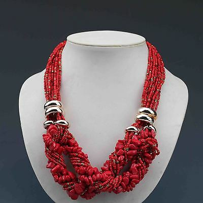 Chinese Collectibles Handmade Red Coral Necklace G617