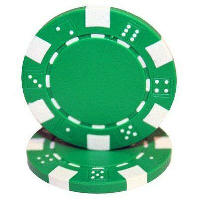 50 Clay Composite Dice Striped 11.5-Gram Poker Chips (GREEN)