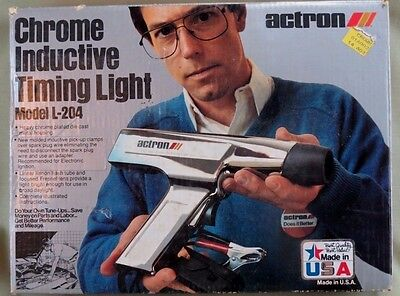 ACTRON CHROME INDUCTIVE TIMING LIGHT MODEL L-204 In Mint Condition W/ Box/Manual