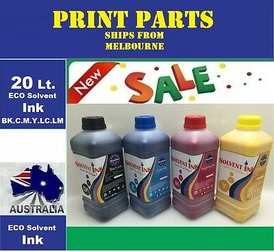 20 Liters (BK.C.M.Y.LM.LC) Eco Solvent ink for Roland, Mimaki, Mutoh DX2/4/5/7