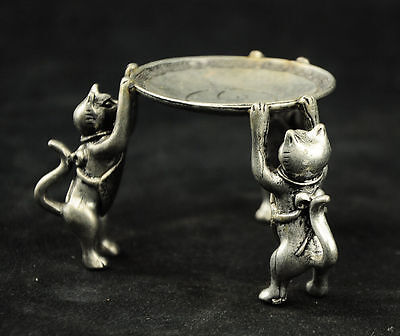 Chinese Tibet Silver Animal 3 Cat oil lamp Candle Holder Candlestick statue AAAA