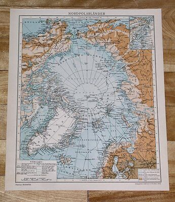 1929 Original Vintage Map Of North Pole Polar Arctic Greenland Alaska Russia