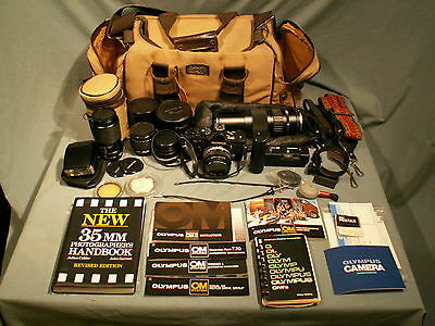 OLYMPUS CAMERA OUTFIT OM2n CAMERA and 4 LENS