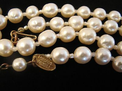 Vintage Signed Miriam Haskell Glass Faux Baroque Pearl Choker Necklace Stunning!