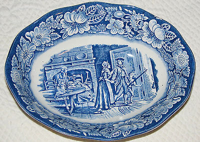 "Liberty Blue Minute Men 9"" Oval Vegetable Serving Dish Staffordshire Ironstone"