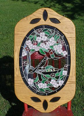 """Real Stained Glass Window Art Panel Hanging Floral Bird 32"""" Tall Stainglass"""