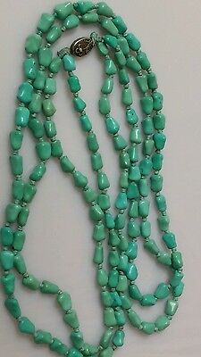 Vintage Chinese Carved Knuckle Nugget Turquoise Beads Double Strand Necklace