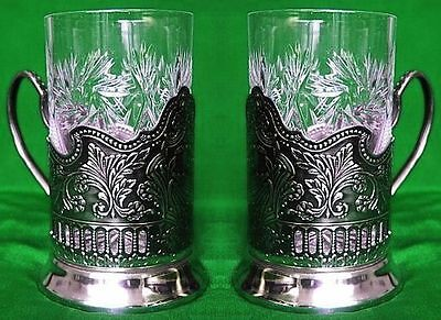 Set Of 2 Russian Crystal Glasses Tumblers And Glass Holders Hot Tea, Coffee