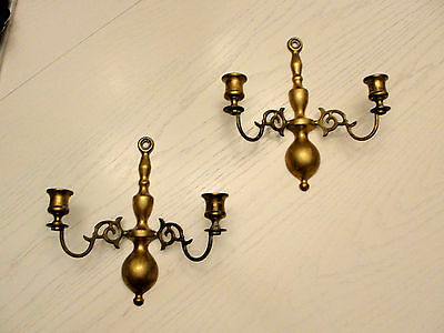 English Brass England Candle Sconce 2 Matching Scroll 2 Candles Each Euc