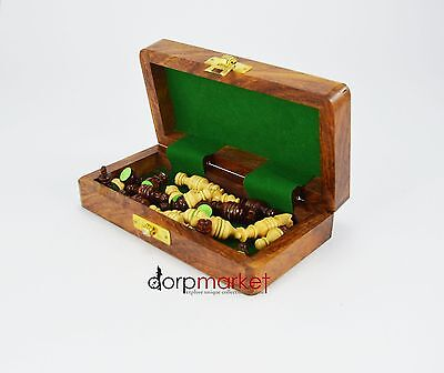 """Dorpmarket 8"""" Folding Wooden Chess Set Game Board with Box Fitting Handmade"""