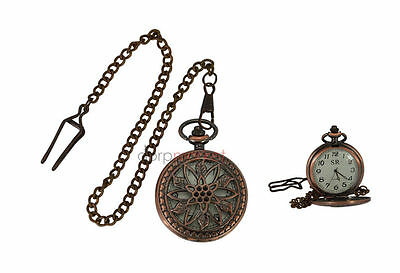 Handmade Vintage Pink Flower designed Pocket Watch with long chain