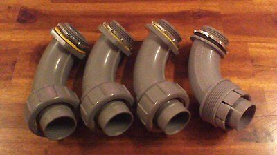 """(4) NEW, 1-1/2"""" 90 Degree PVC Liquid-Tight Connector UV Rated"""