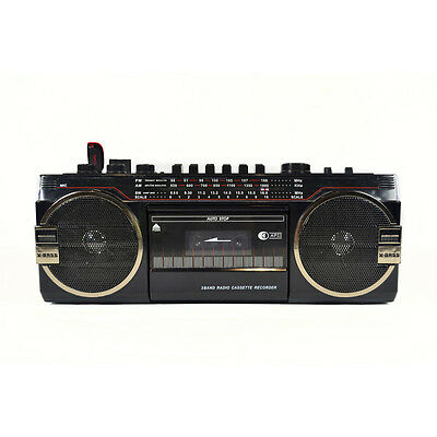 Classic Look AM/FM/SW 3 USB/SD Function Band Radio Player MiniBoom Cassette Deck