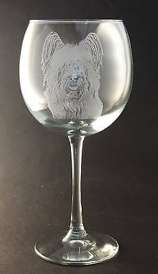 New! Etched Skye Terrier on Large Elegant Wine Glass
