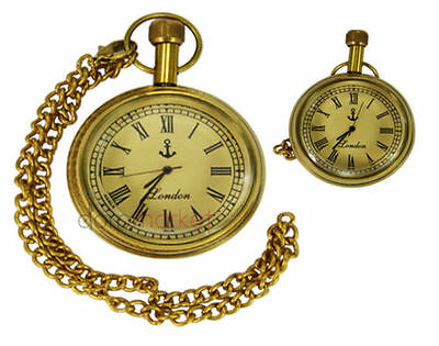 Handmade Vintage Replica Golden Anchor Designed Pocket Watch with long chain