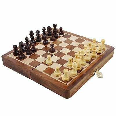 """Wooden 10 """" Handmade Folding Magnetic Chess Set Game Board with Safety Box"""