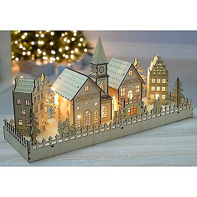 Christmas Village Scene Illuminated Story Table Decoration Lighted Wooden Houses