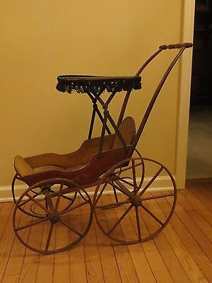 Antique Childs Doll Stroller/Carriage, Wood/Metal, Hand Painted, 1800's VG to EX