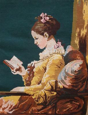 """Completed vintage cotton needlepoint tapestry """"The Reader""""; Fragonard  25""""x20"""""""