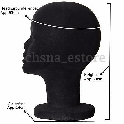 Female Black Styrofoam Manikin Head Wid Hair Hat Display Mannequin Foam Stand US
