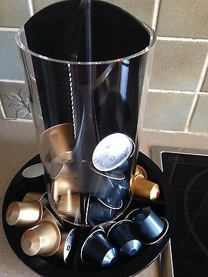 NEW Totem Nespresso black coffee Pod Capsule Glass dispenser holder Storage