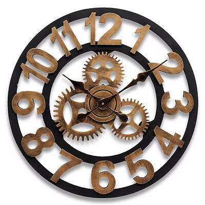 80cm Unique Large Wall Clock Handmade 3D Wooden Vintage Wall Clock for Home