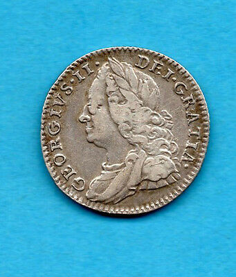 1758 KING GEORGE II SILVER SIXPENCE COIN.   TANNER. 6d.