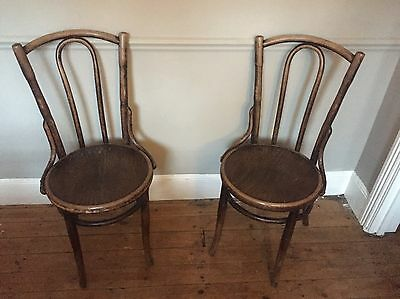 Pair of Antique Vintage Bentwood Bistro Cafe Kitchen Dining Chairs C 1920