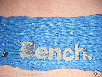 Boys Youth Bench Warm Blue Grey Knitted Winter Scarf Long Chunky Knit