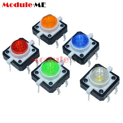5pcs 12×12×7.3mm 5 Color Momentary Tact LED Tactile Push Button Switch MO