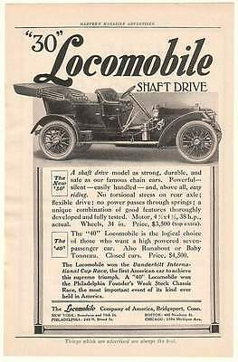 1908 Locomobile 30 Shaft Drive Automobile Car Ad