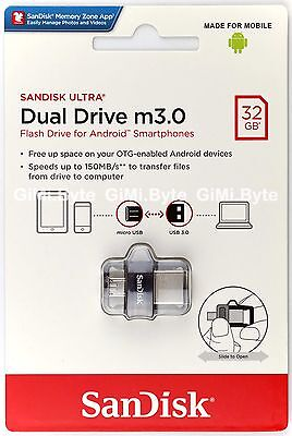 SanDisk 32 GB 32G Ultra Dual Drive OTG m3.0 micro USB Android USB 3.0 On-The-Go