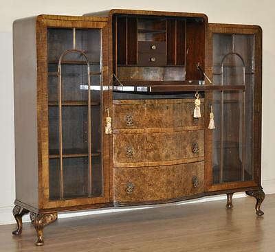 Attractive Vintage Art Deco Burr Walnut Bookcase Cabinet With Fitted Bureau