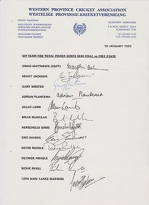 Western Province, South Africa 1993- official teamsheet