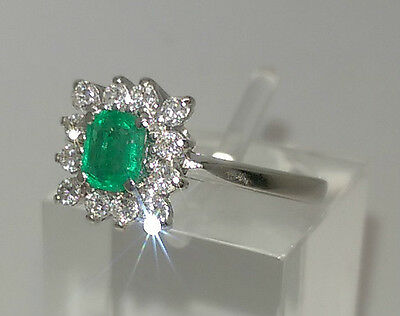 Stunning 14ct White Gold Emerald and Diamond Cluster Ring. Goldmine Jewellers.