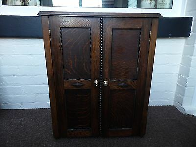 Early 1900's Ornate Small Cupboard Cabinet Solid Oak And Panelled