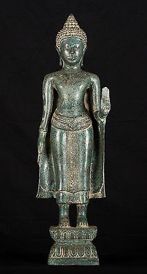 Antique 19th Century Thai Bronze Protection Standing Buddha Statue - 53cm/21""