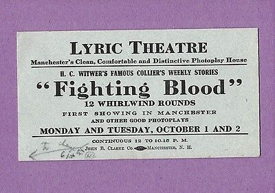 1115O Vintage Blotter Lyric Theatre Manchester Nh Fighting Blood H C Witwer's