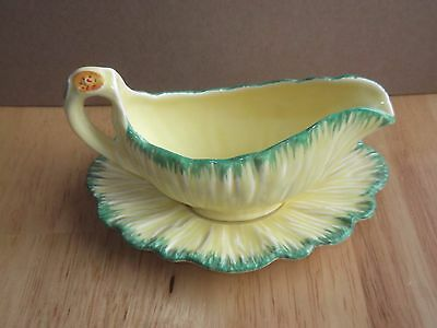 Vintage Crown Ducal Yellow Sauce boat Gravy Jug&Saucer/plate handpainted Pottery
