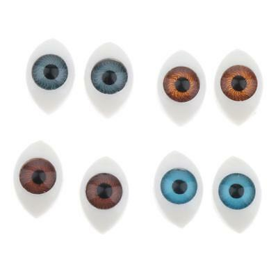 4 Pairs 6mm Iris Oval Hollow Back Plastic Eyes For Doll Making Mask 4 Colors