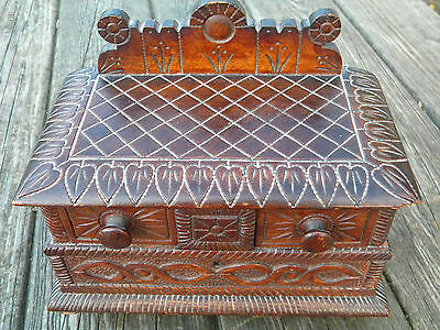 Antique Carved Wood Jewelry Box German? Black Forest
