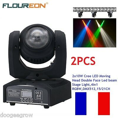2PCS 20W Cree LED Moving Head 2 Face Led beam Stage Light 4in1 RGBW 15/21CH DJ