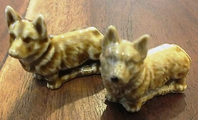 VINTAGE. c1970's WADE WHIMSY (Whimsies) CORGI DOGS.  UK DISPATCH